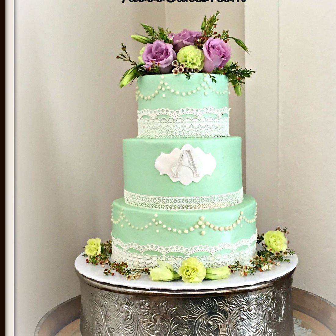Buttercream Wedding Cake Tiffany Blue Lace southern Chic