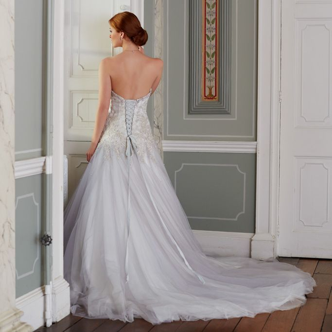 Silver wedding dress with corset back