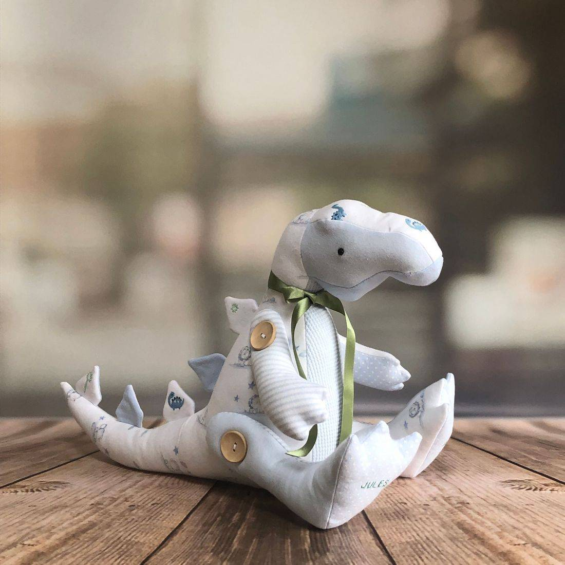 Dinosaur Keepsake made from sentimental clothing