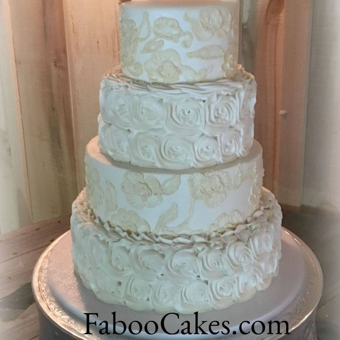 Buttercream Wedding Cake Lace Floral Brushed Embroidery