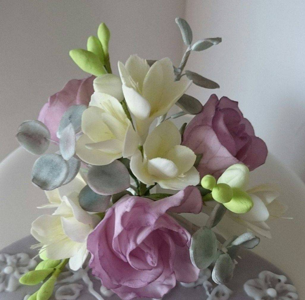 Handcrafted Freesia & Rose Sugar Flowers