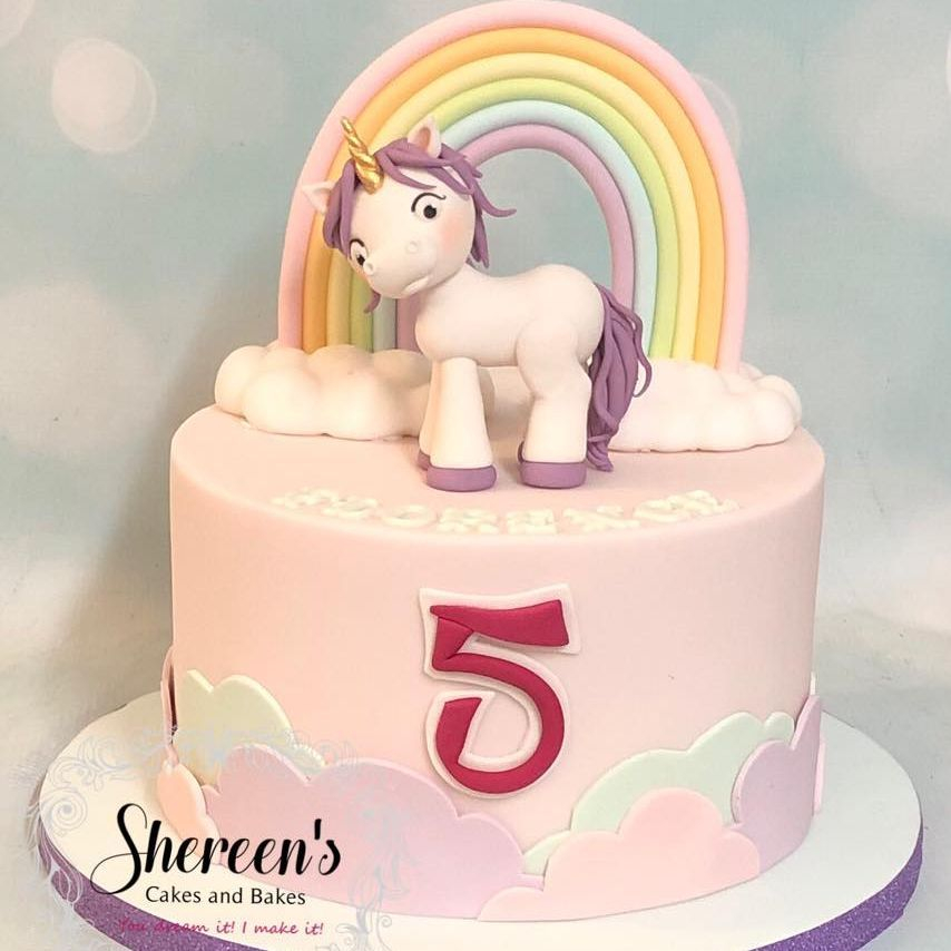 Birthday Cake Unicorn Double Rainbow Party Pastel