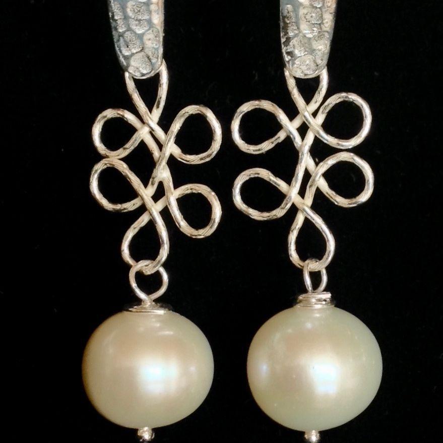 Sterling Drop Pearl Earrings