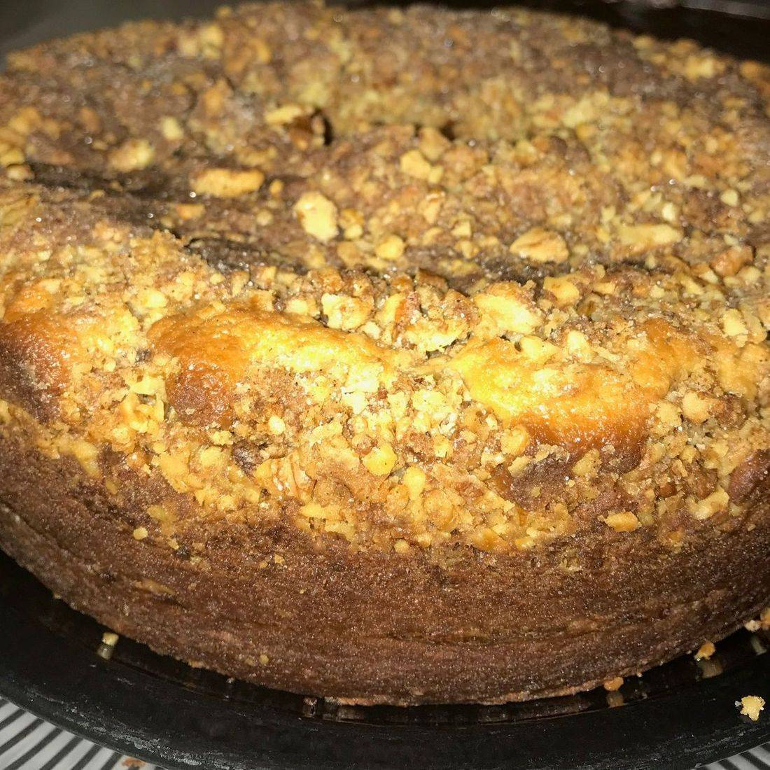 Great-grandmother's recipe for delicious, old-fashioned huge mouth-watering coffee cake. A decadent, delightful layer of toasted walnuts, butter, and spices in the middle of this cake and covered in walnuts and dusted with organic spices. Made with mostly organic ingredients. Moist, fragrant, full of organic butter, sour cream, toasted walnuts, spices, eggs, brown sugars and lots of loving care to make an absolutely decadent, southern pound cake that is can be an excellent marriage partner for your rich coffee. May be frozen for up to 2 months if properly wrapped.