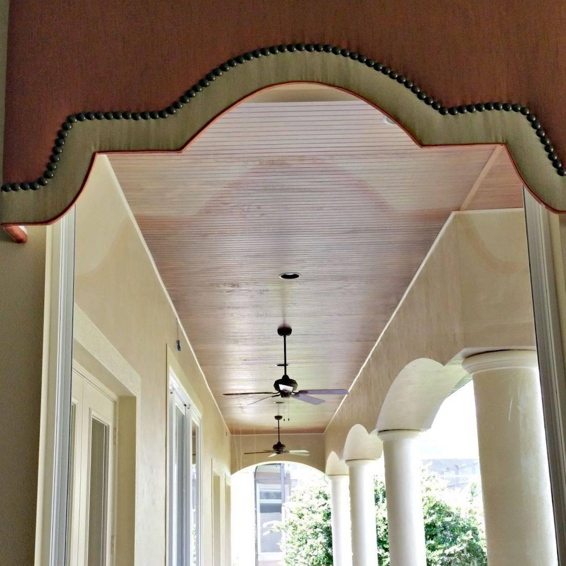 Triple Layered, Shaped Cornices with nailheads - Lakeland residence