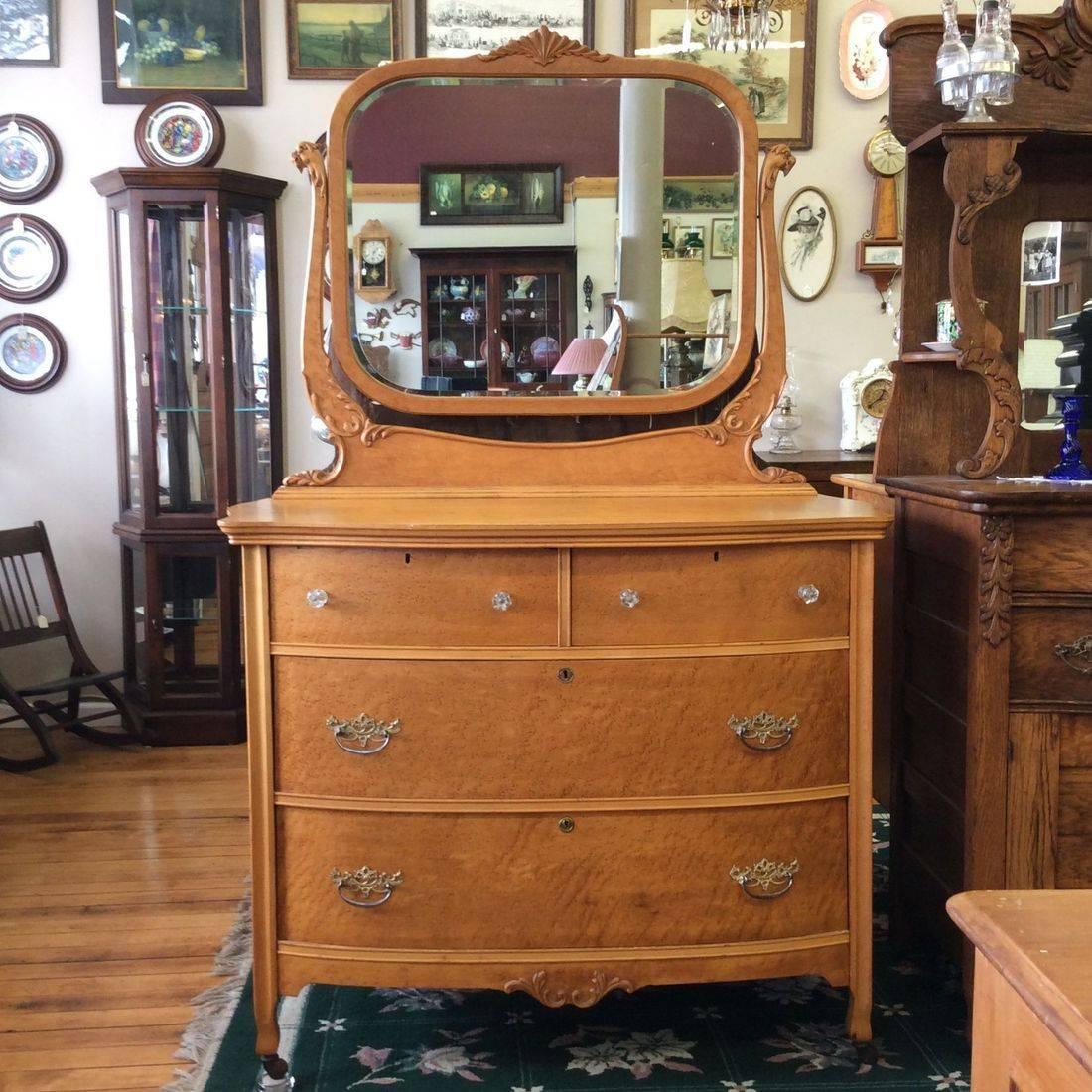 C. 1890-1910  Birds-Eye Maple 4-Drawer Dresser w/Beveled Edge Mirror and Griffin Head Mirror Supports   $300.00