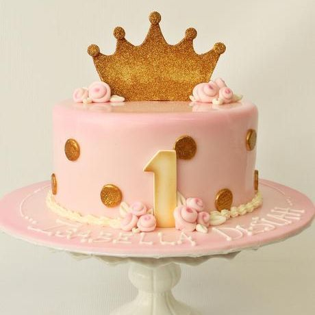 Custom Pink Gold Polka Dot Princess Cake Milwaukee