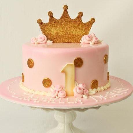Custom Pink Gold Polka Dot Princess Cake Milwaukee