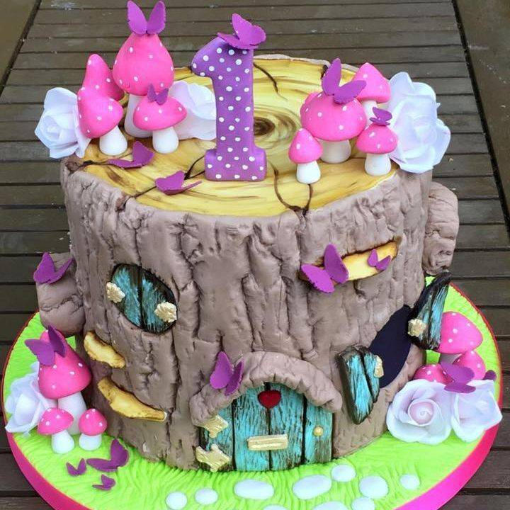 Tree Stump Fairy Garden Toadstool Birthday Cake Roses