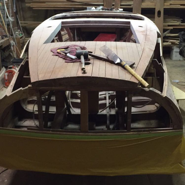 Replacing transom on Chris Craft Barrel Back in wood shop