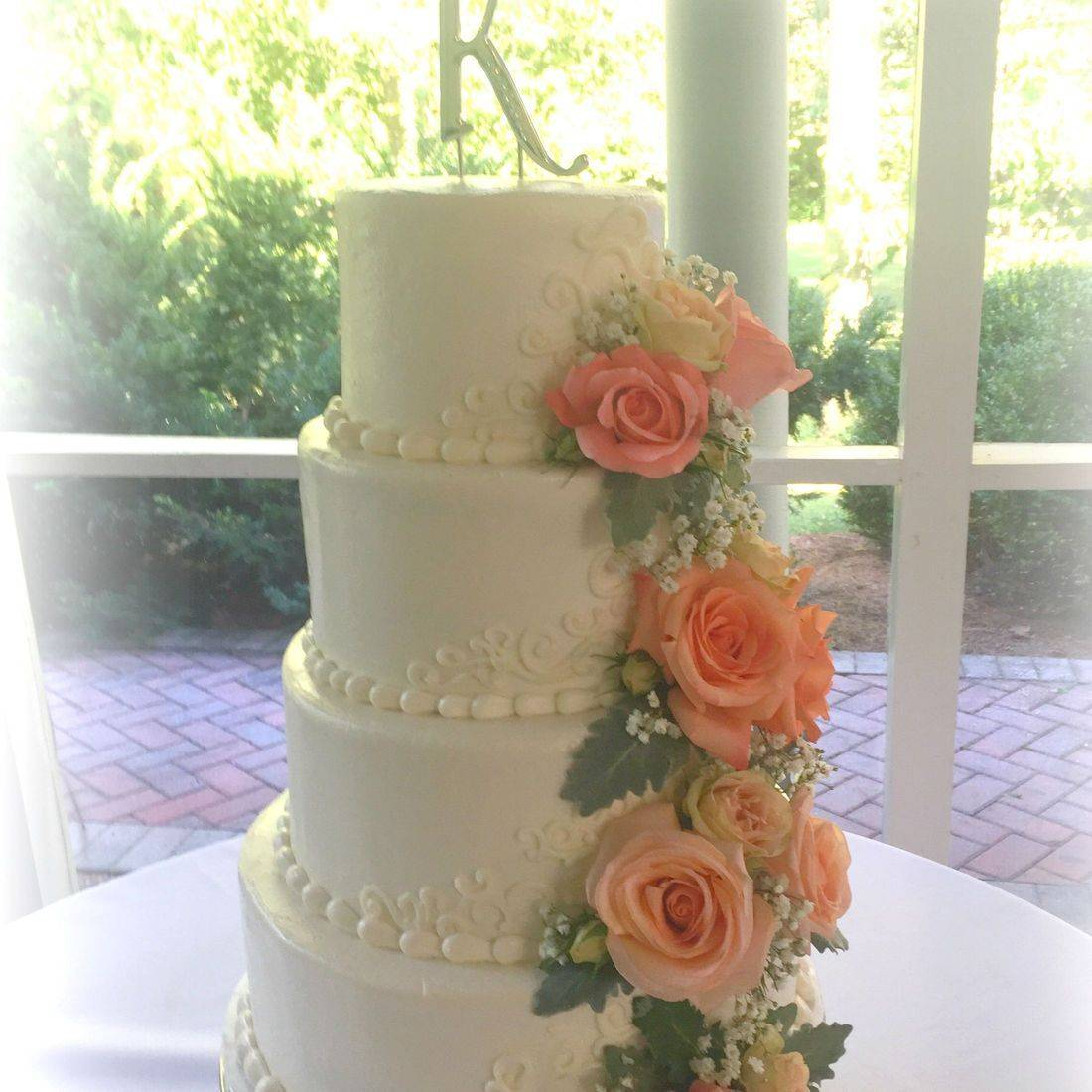 buttercream wedding cake  smooth buttercream fresh flowers
