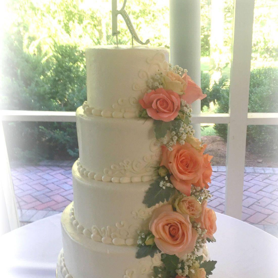 buttercream wedding cake  smooth buttercream fresh flowers