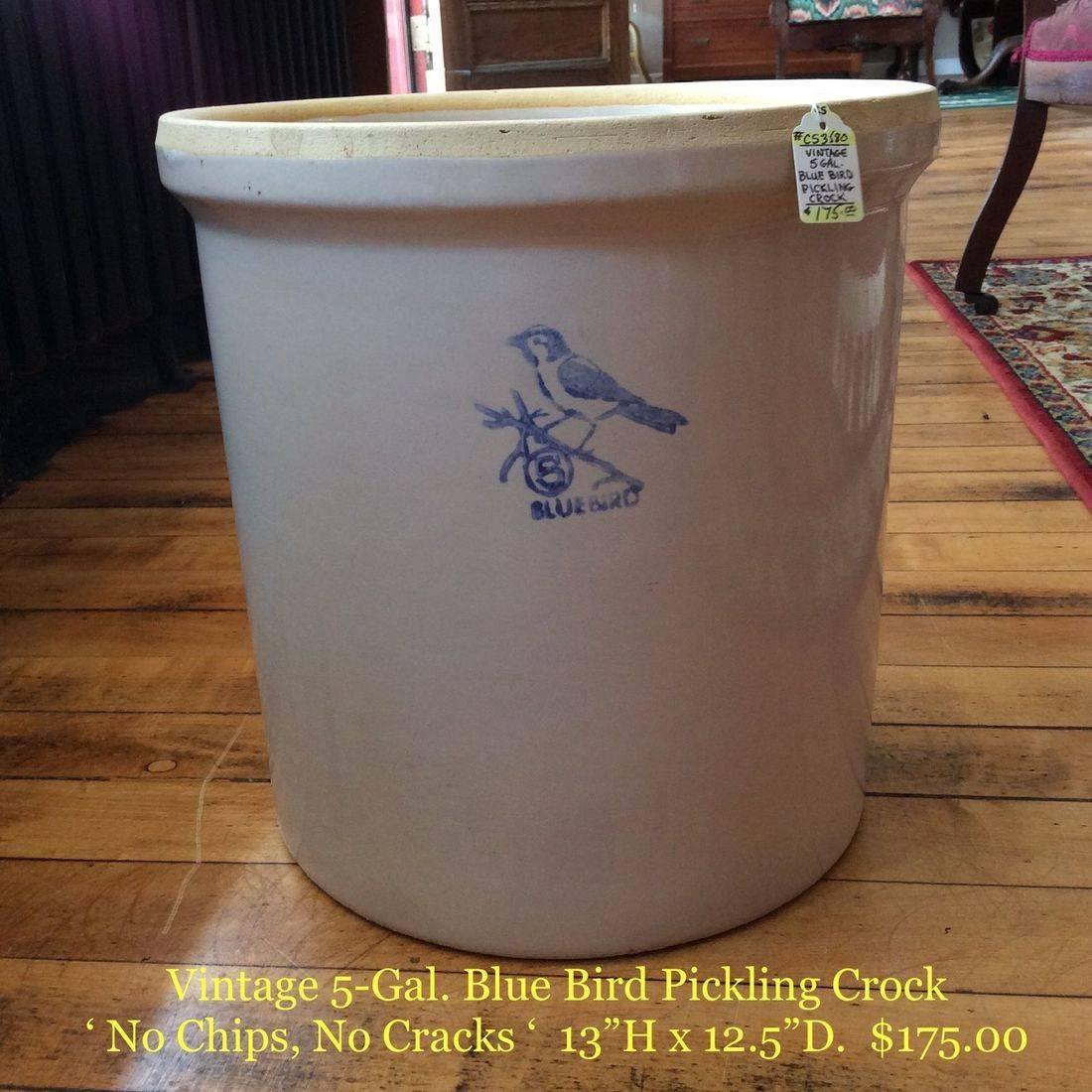 Vintage 5 Gal. Blue Bird Pickling Crock - No chips, No cracks - $175.00