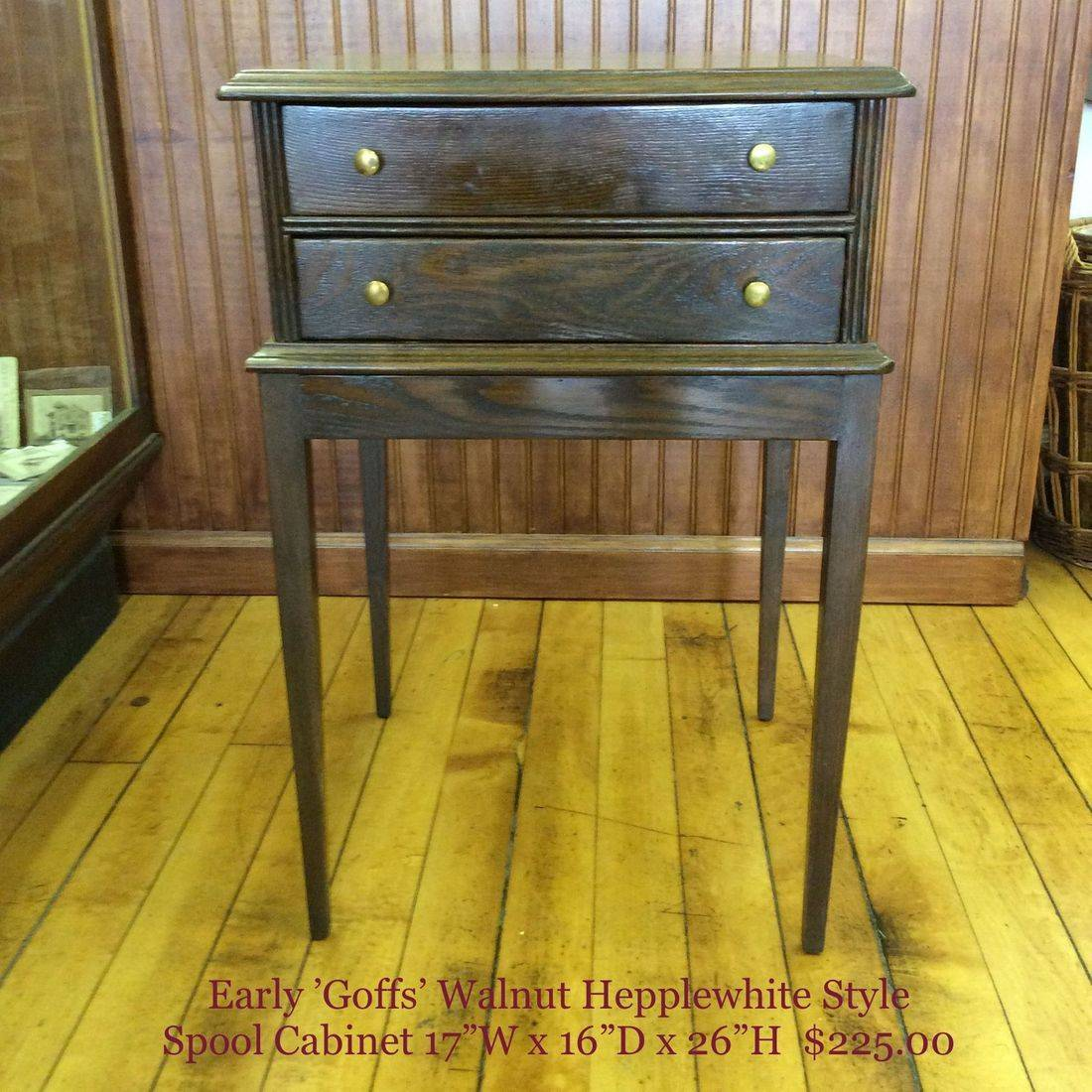 "Early 'Goff's' Walnut 2-Drawer Pembrooke/Hepplewhite Style Spool Cabinet w/Factory Color Stacking Instructions Inside First Drawer  17-1/4""W x 15-3/4""D x 26""H.  $225.00"