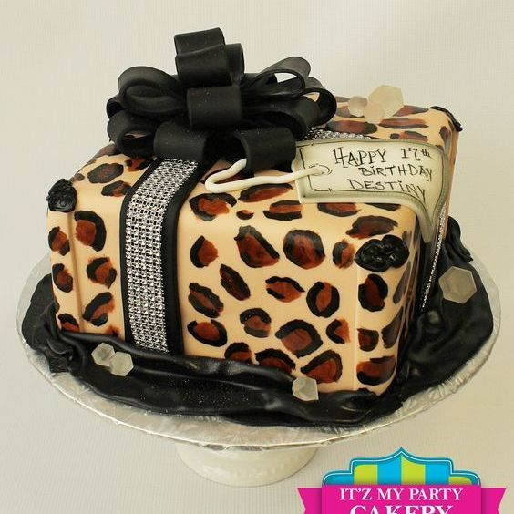 Cheetah Gift Box Dimensional Cake Milwaukee