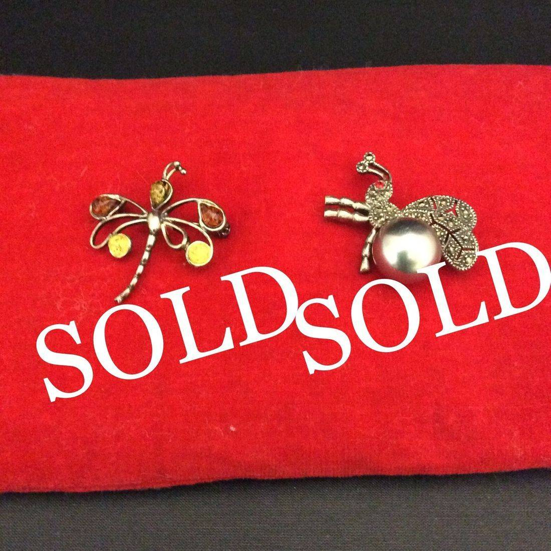 Sterling .925, Dragon Fly Pin  $25,  Sterling .925, Bee Pin  $40.00