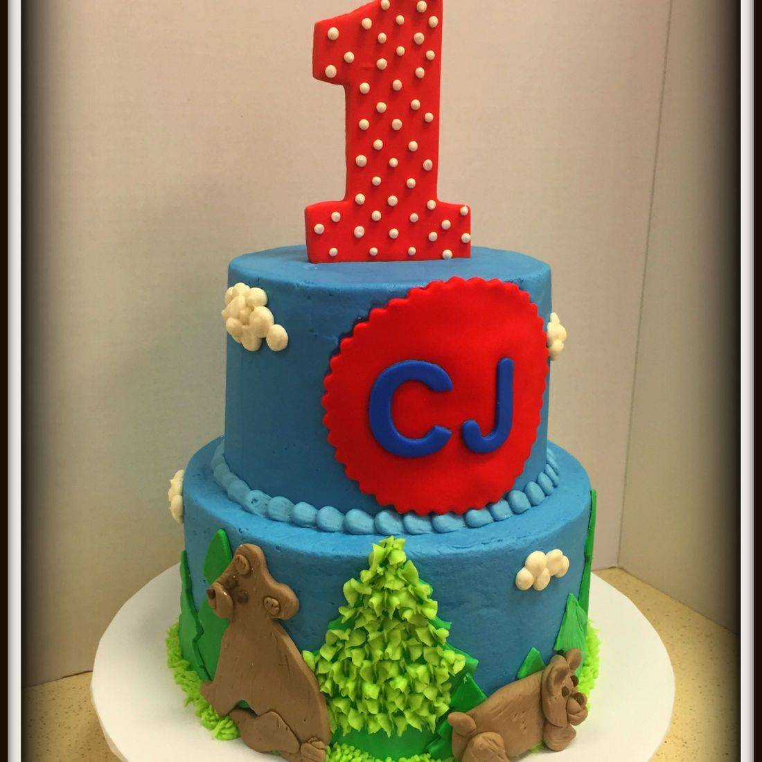 bear theme first birthday wild theme forest animals cake