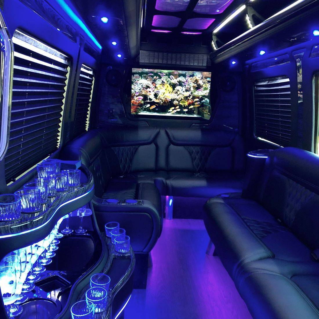 The inside of a limousine