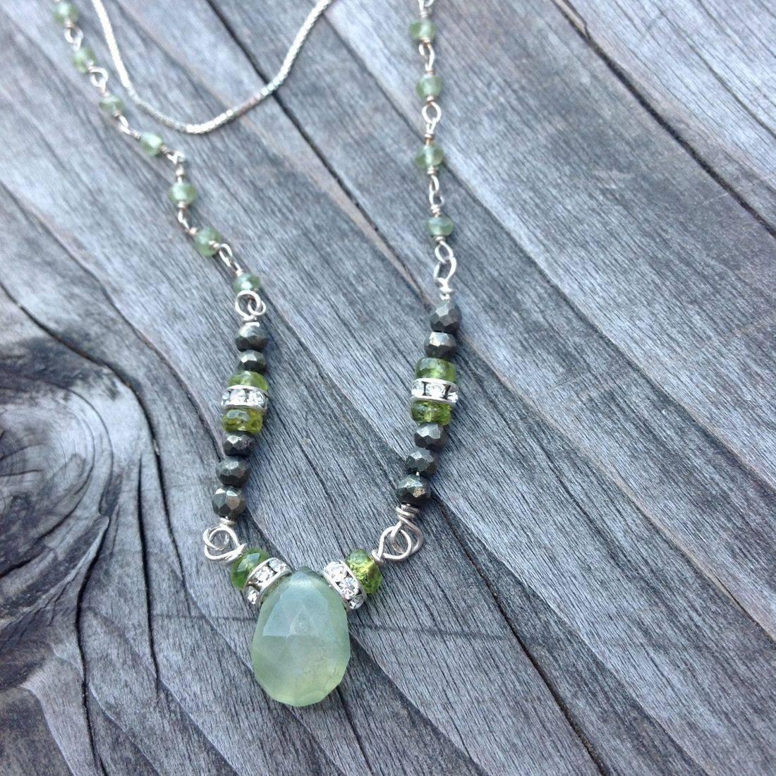 green garnet, sterling silver necklace, with gemstone beads, swarovski crystal spacers,