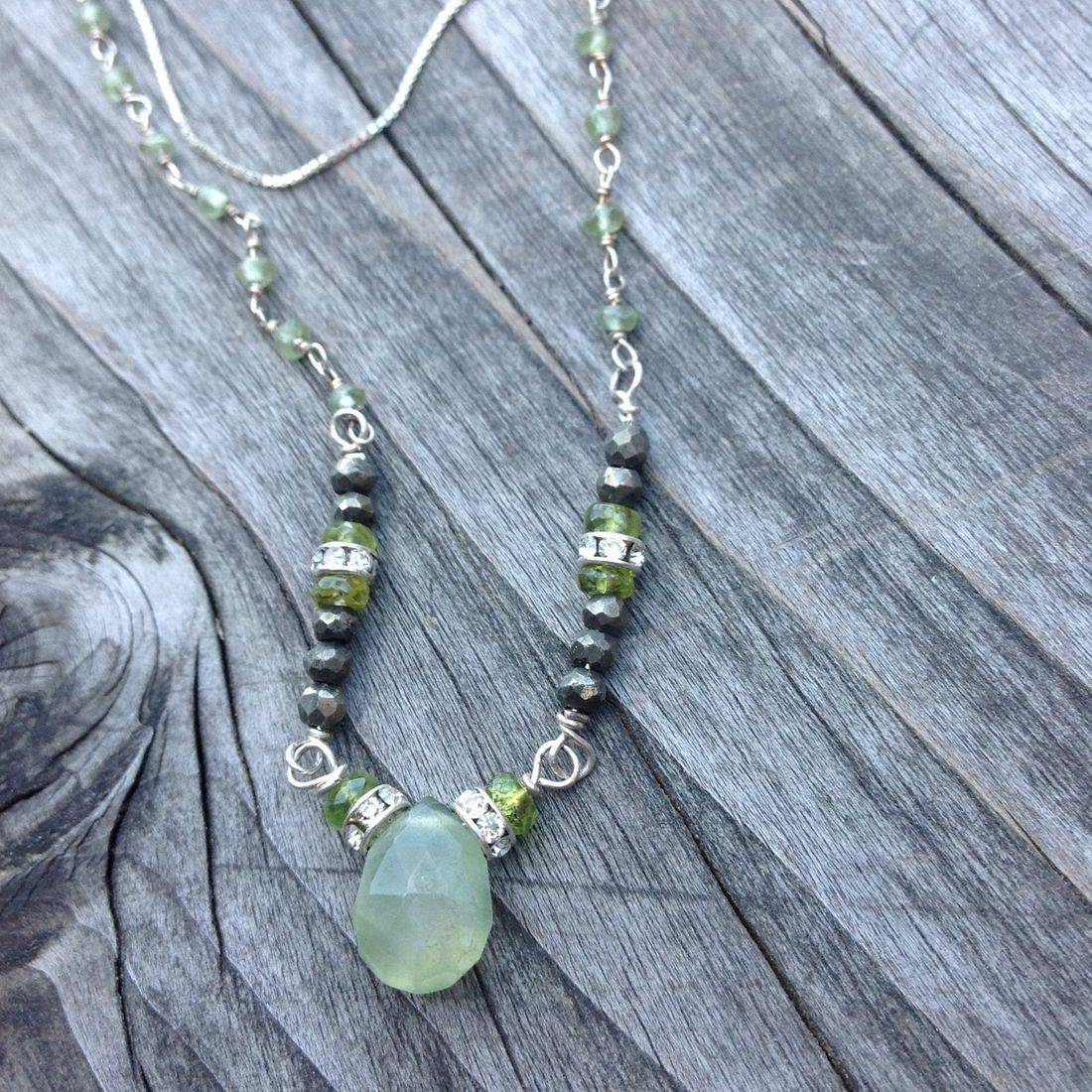 green garnet, sterling silver necklace, with gemstone beads, swarovski crystal spacers,