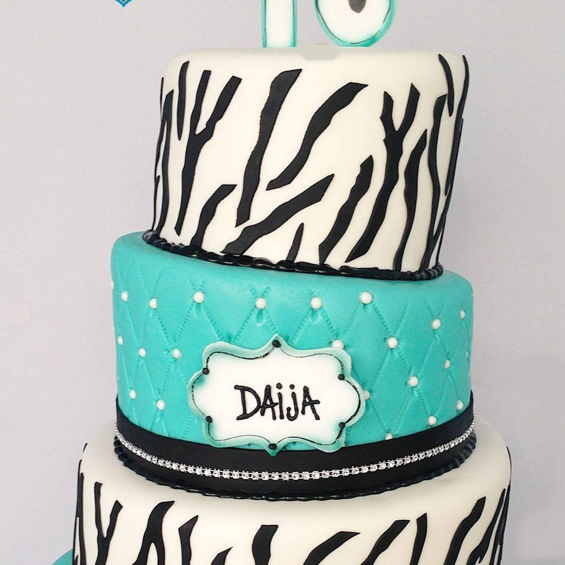 Custom  Zebra Topsy Turvy Cake Milwaukee