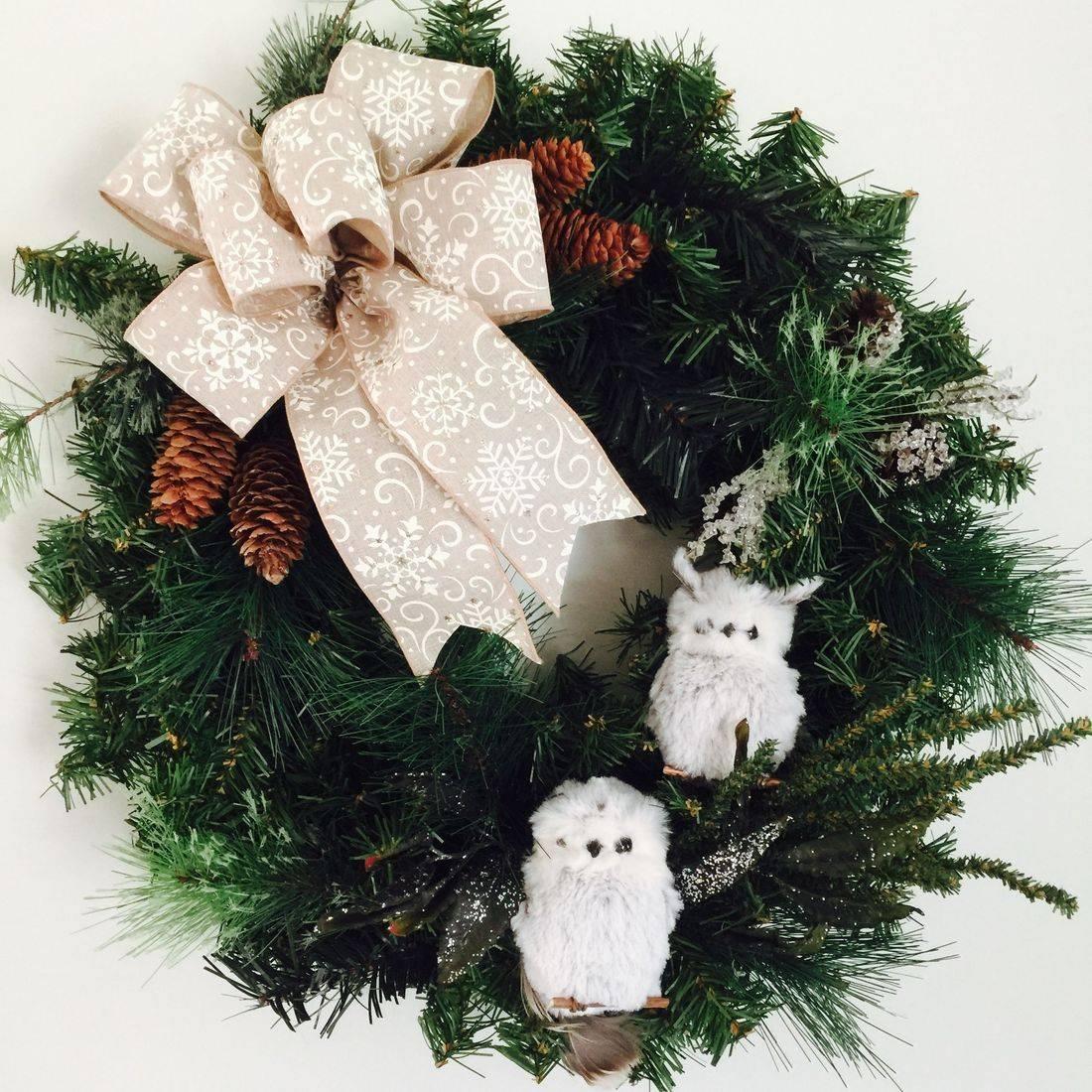 Evergreen Christmas Owl wreath