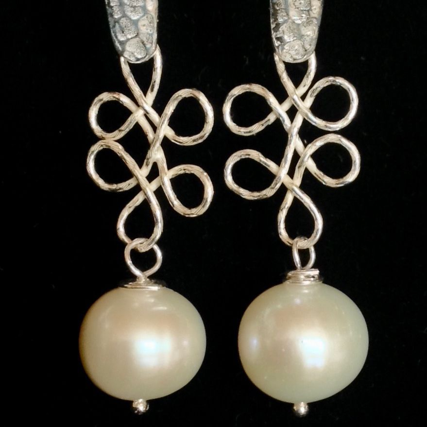 Freshwater Pearls on Sterling italian chain link with beaten silver