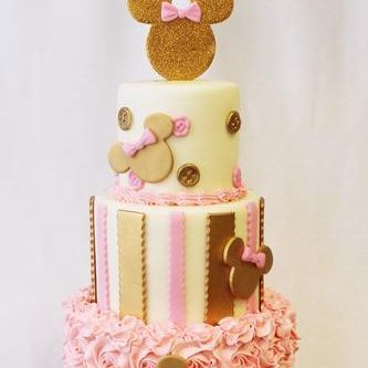 Custom Mickey Mouse Gold stripes Ruffles Cake Milwaukee