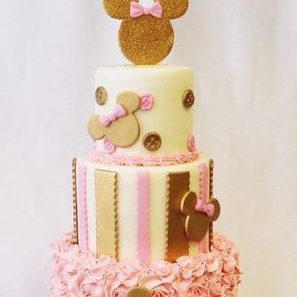Custom Mickey Mouse Gold stripes Ruffles Cake Milwaukee