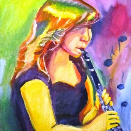abstract jazz painting clarinet
