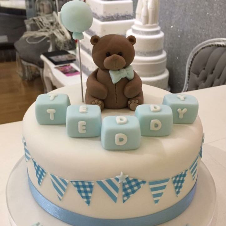 teddy 1st newborn baby blue cake luton dunstable bedfordshire