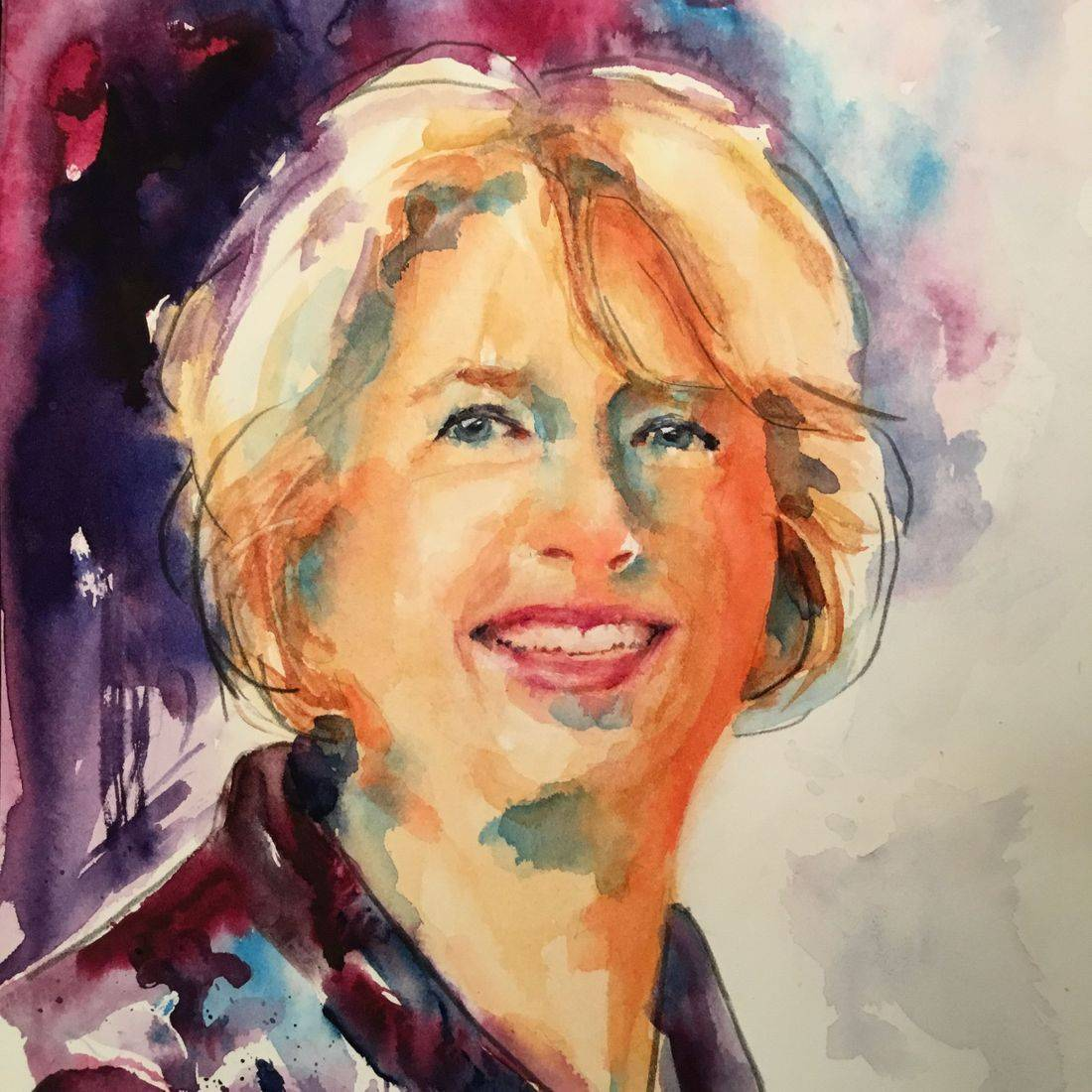 R Putbrese watercolor portrait of woman by Rebecca Krutsinger