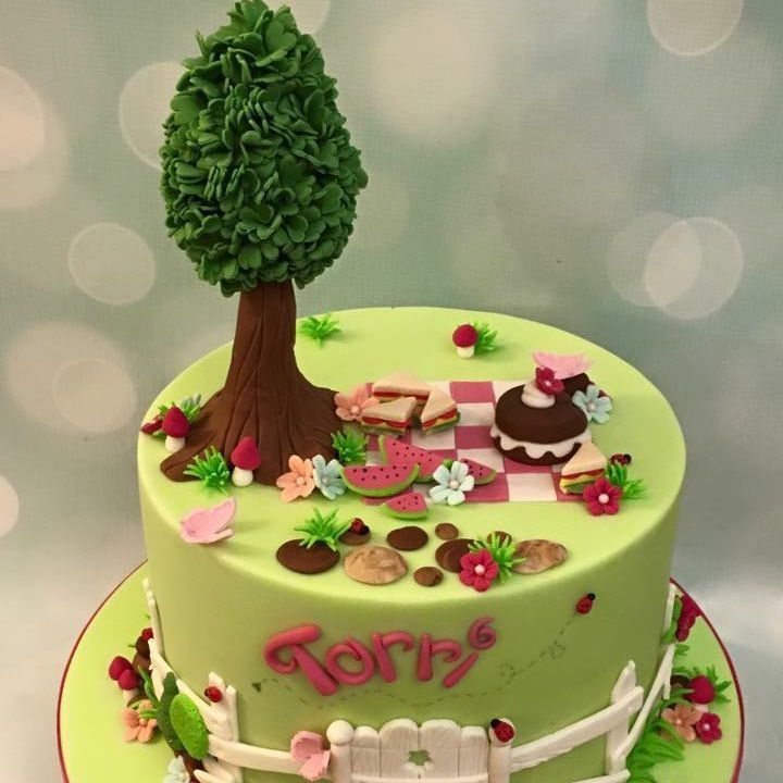 Picnic Birthday Cake Watermelon Tree Fence