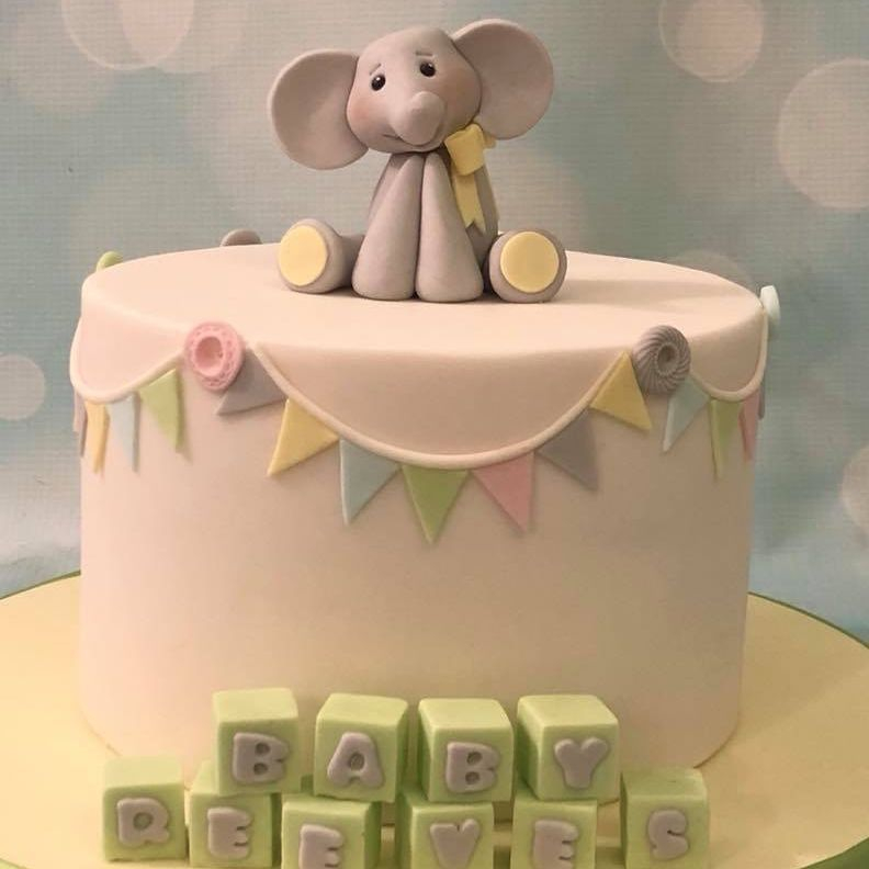 Baby Shower Elephant Birthday Blocks Bunting Cute Cake Novelty