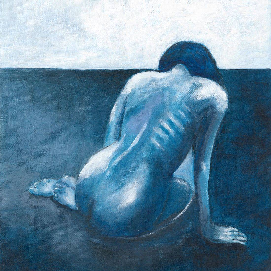 Listen To Your Heart, Art And Soul By The Lake, Acrylic Painting on Canvas, Blue Painting, Impressionistic Painting, Home Decor, Blue Nude
