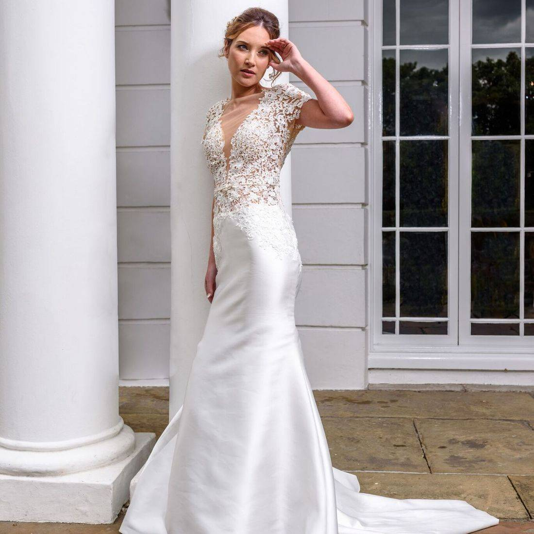 mori lee, lace wedding dress, illusion wedding dress, dipped neckline wedding dress, dipped back wedding dress, wedding dress with sleeve, wedding dress with short sleeve
