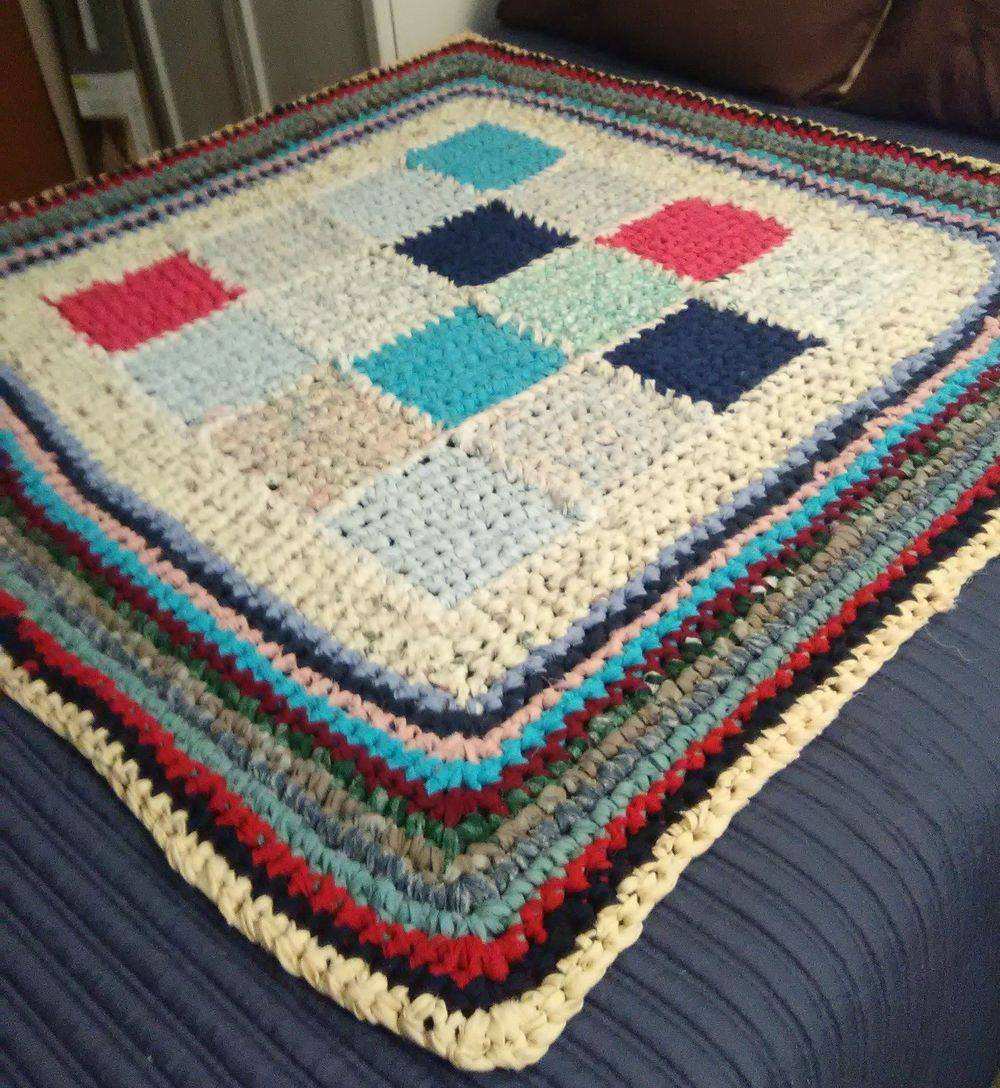 AAJ Multi-colored Squares Throw Blanket