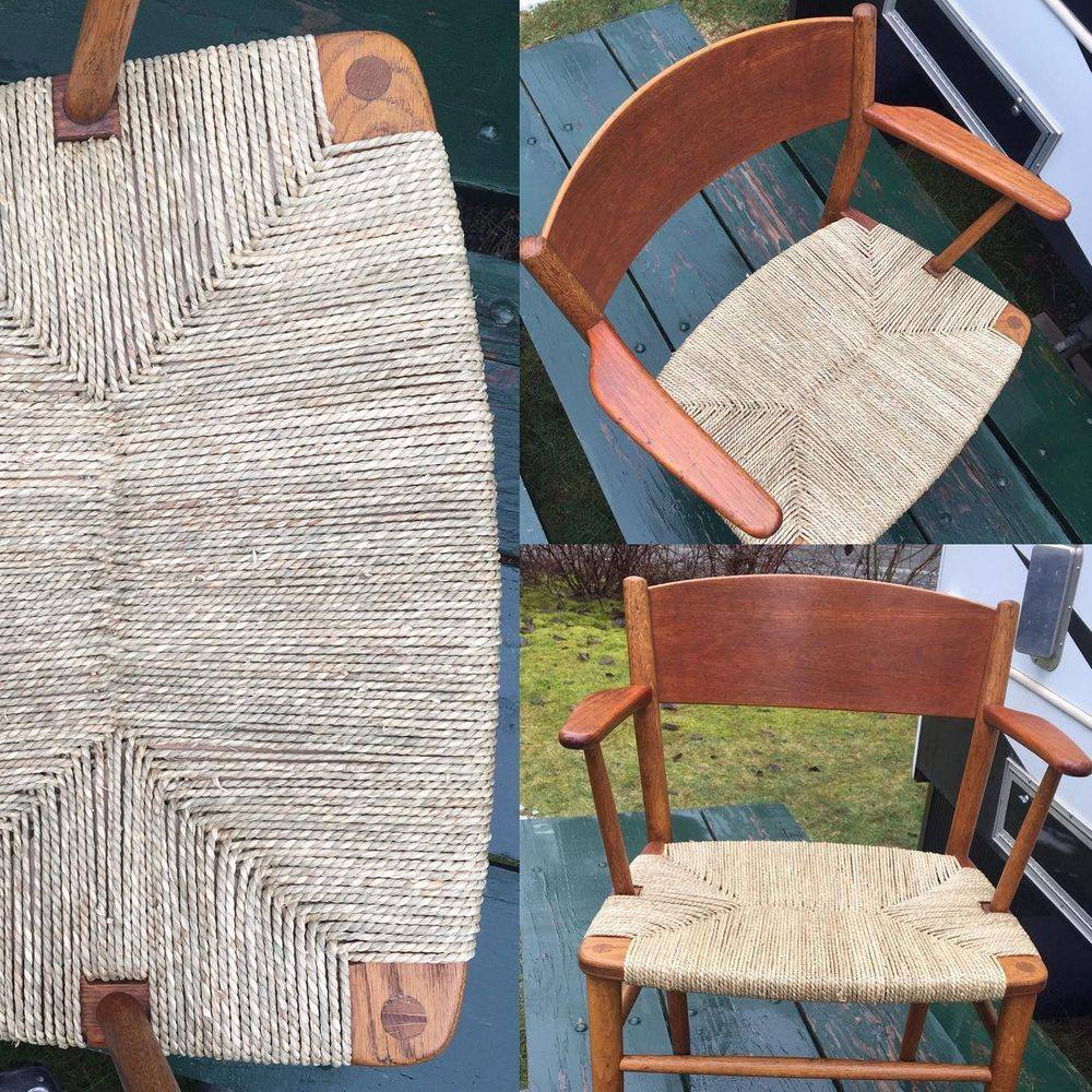 Mid-Century Børge Mogensen Dining Chairs by Søborg Møbelfabrik Armchair 157 woven in seagrass