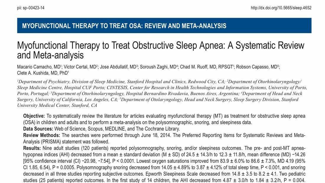 Myofunctional Therapy to treat sleep apnea
