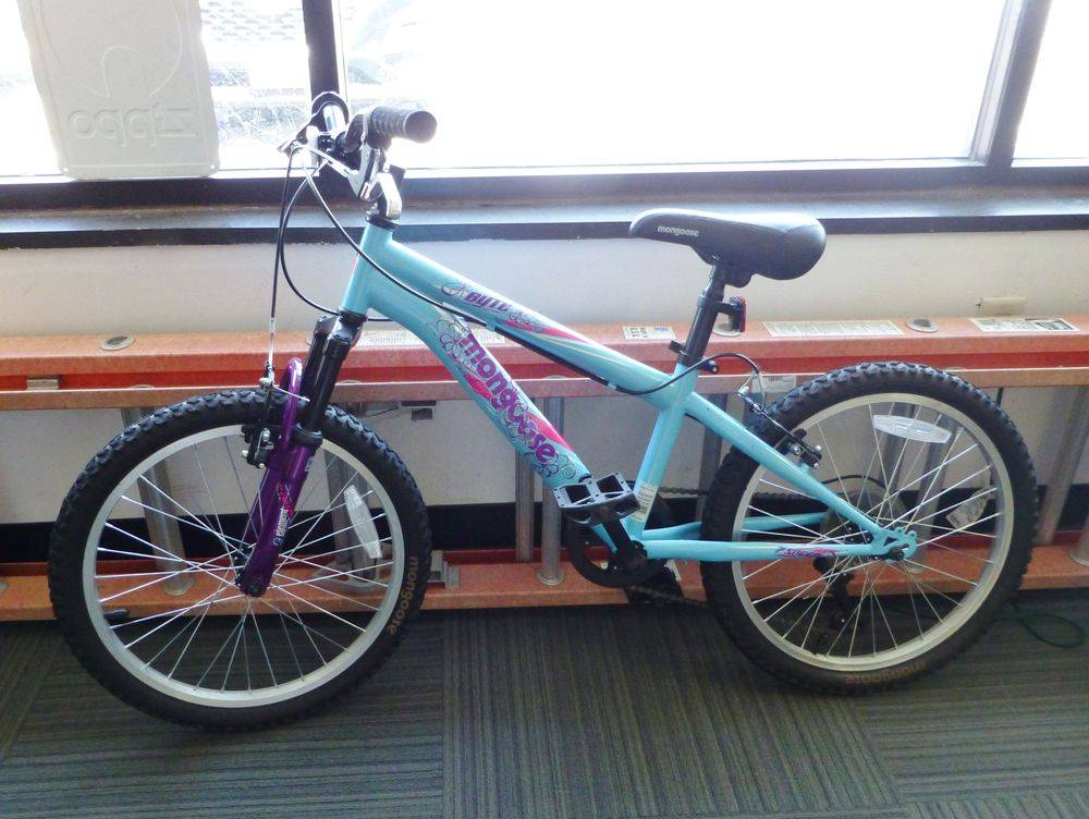 close up picture of a teal and purple girls Mongoose bike leaned against a window