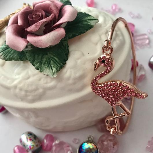 Rose Toned Pink Rhinestone Flamingo Bangle Bracelet