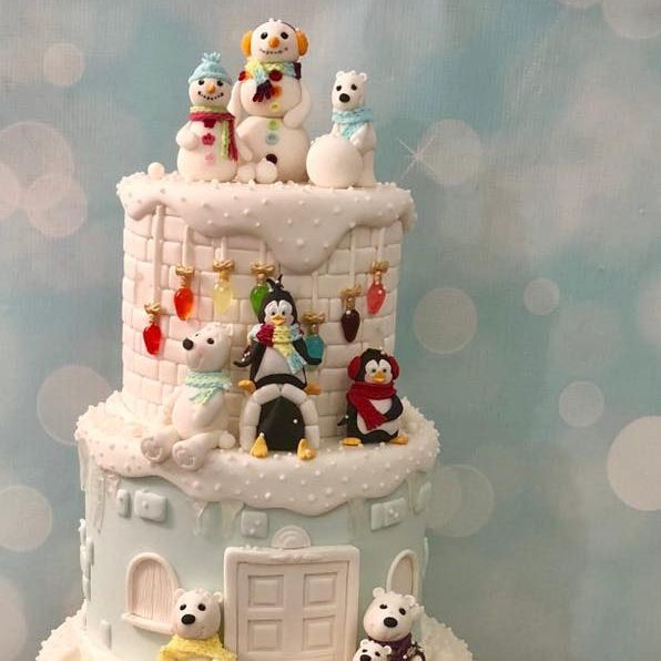 Winter Snow Polar Bear Penguin Cake Snowman Isomalt Lights Christmas Sled Snowballs