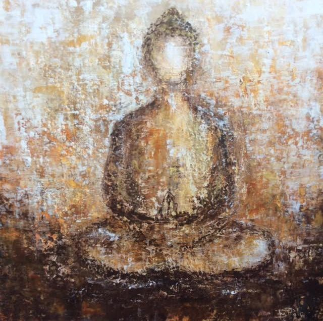 Buddha painting, Oil Buddha painting, inspirational art, cold wax art, wax painting, zen art, art for yoga studio, yoga studio decor, meditation art, buddha, buddha oil painting, spiritual art, peace and light