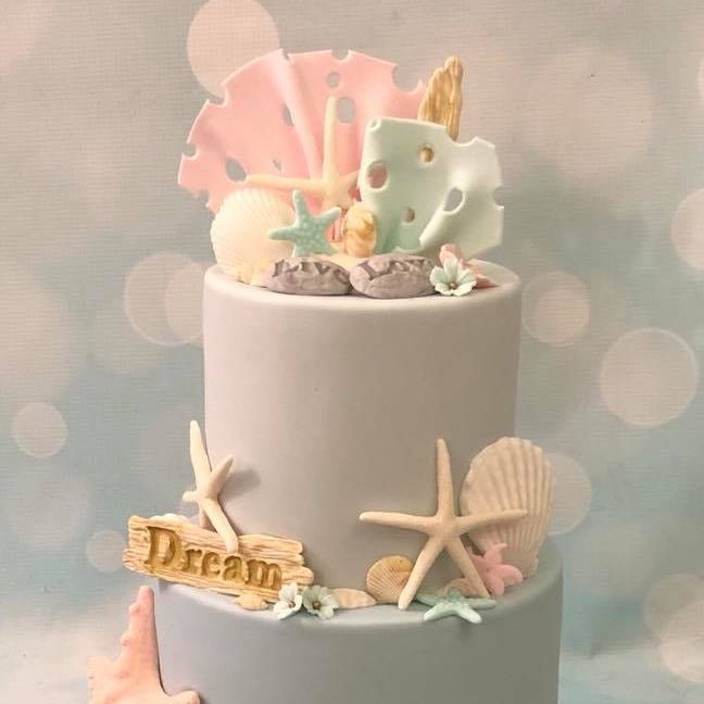 Beach Sea Starfish Shells Coral Pebbles Birthday Celebration Novelty Cake