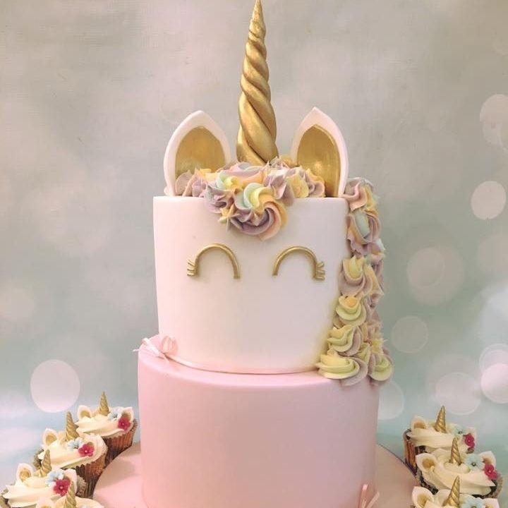 Unicorn 2 tier Cake Birthday Pastel Rainbow Gold Novelty