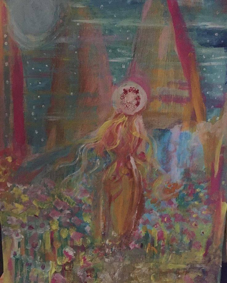 Healingtavla, moon, stars, ocean, hav, magic, women, flower, blooming, hat