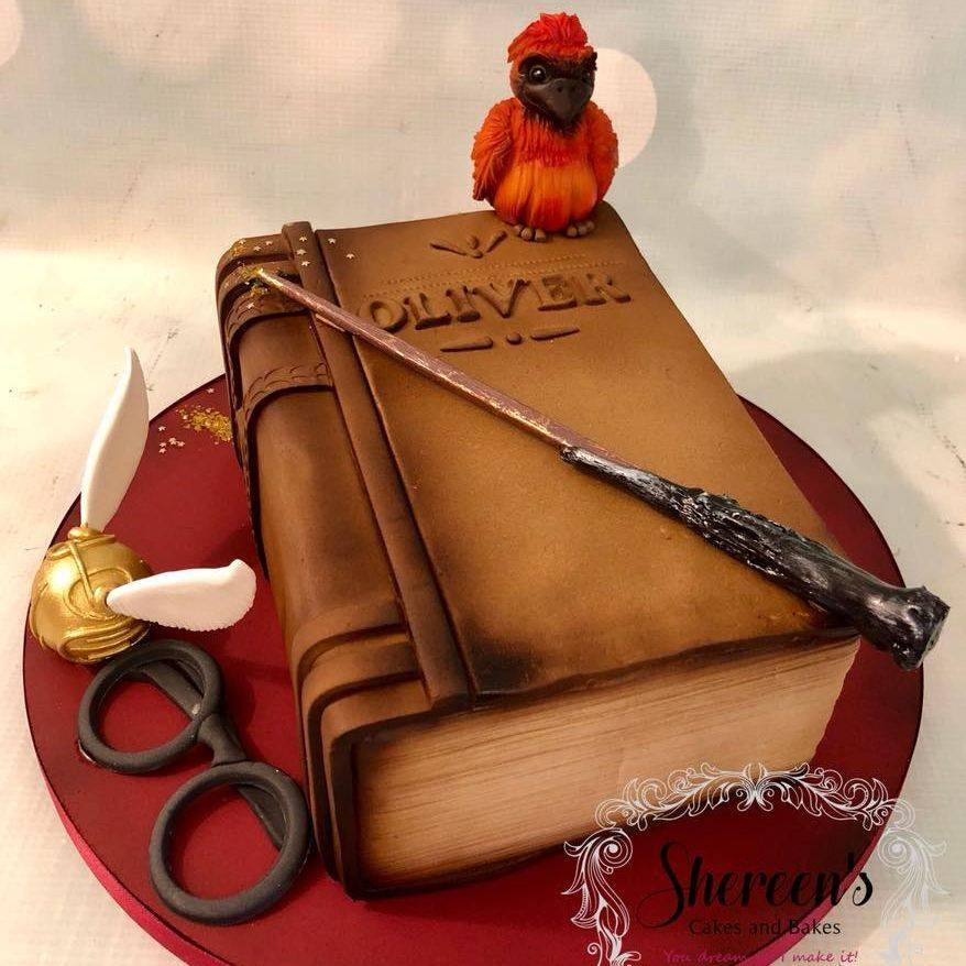 Harry Potter Birthday Cake Book Golden Snitch Glasses Fawks Phoenix Wand