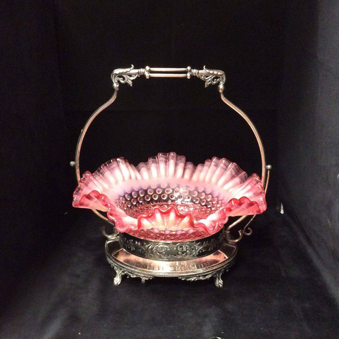 Very Early 1900's Southington Silver-Plated Bridal Basket w/Early Fenton Hobnail Double-Crimped Opalescent Cranberry Bowl   $95.00