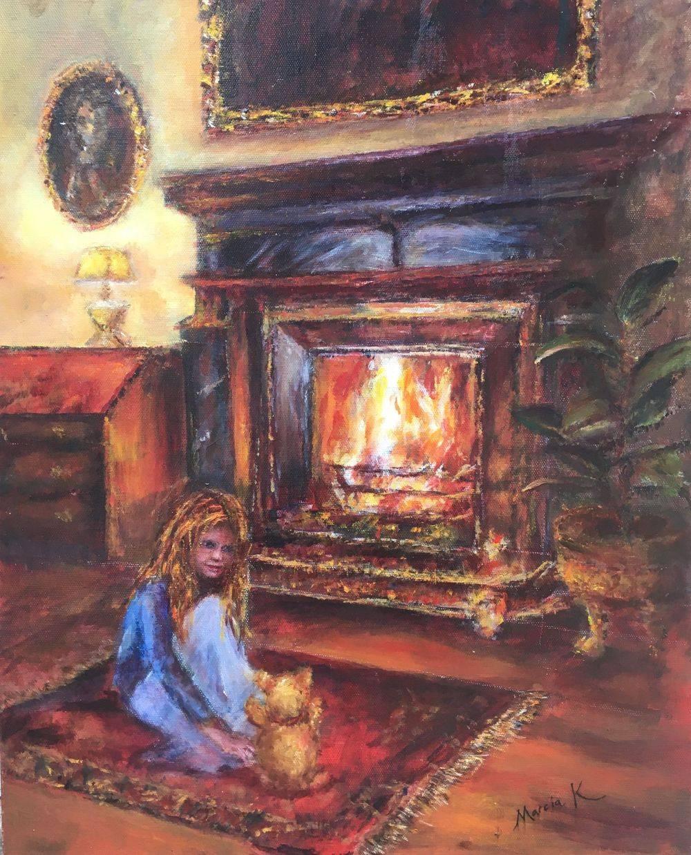 Bonfire Night. Mixed media painting by Marcia Kuperberg