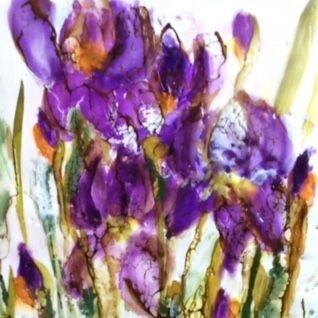 Purple Irises, Encaustic painting by Barbara Polc, Encaustic and Alcohol Ink, encaustic and shellac, encaustic floral, abstract encaustic floral, iris painting, irises